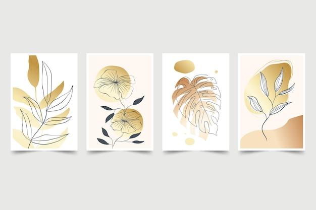 Coleção de capa botânica dourada Vetor grátis