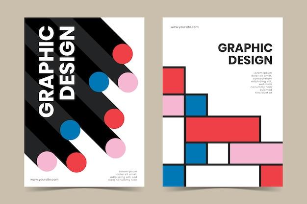 Coleção de capa de design gráfico no estilo bauhaus Vetor grátis