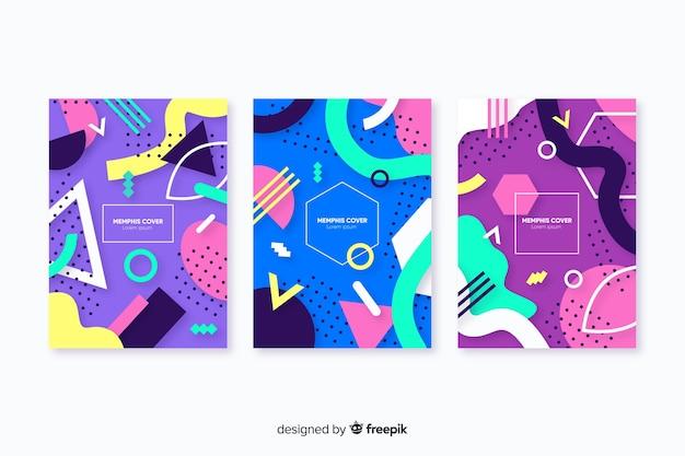 Coleção de capa de estilo abstrato memphis Vetor grátis