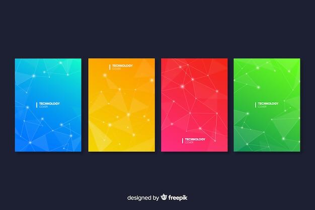 Coleção de capa de gradiente colorido tecnologia Vetor grátis