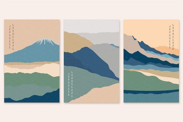 Coleção de capa japonesa minimalista Vetor grátis