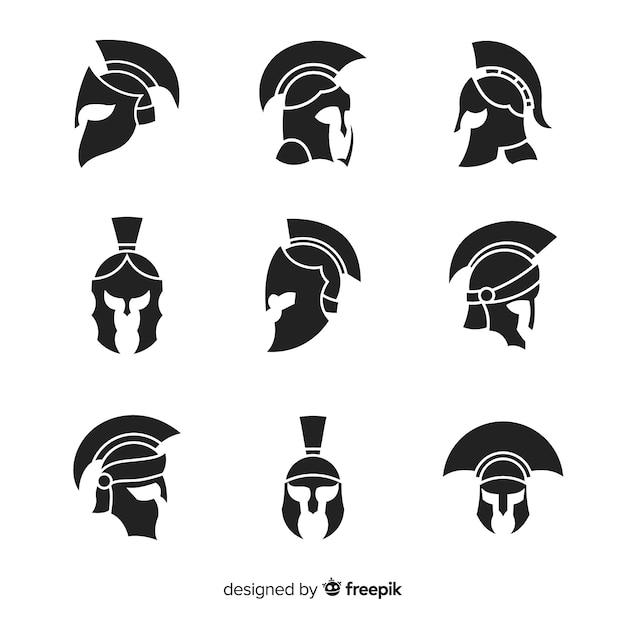 Coleção de capacete espartano de silhueta Vetor grátis