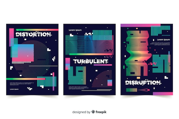 Coleção de capas com efeito de falha colorida Vetor grátis