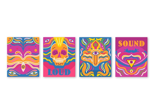 Coleção de capas de música psicodélica Vetor grátis