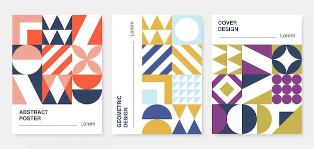 Coleção de capas geométricas abstratas. Vetor Premium
