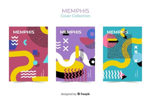 Coleção de capas memphis Vetor grátis