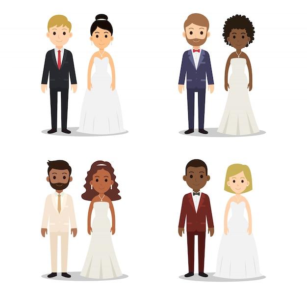 Coleção de caracteres de casal casamento Vetor Premium