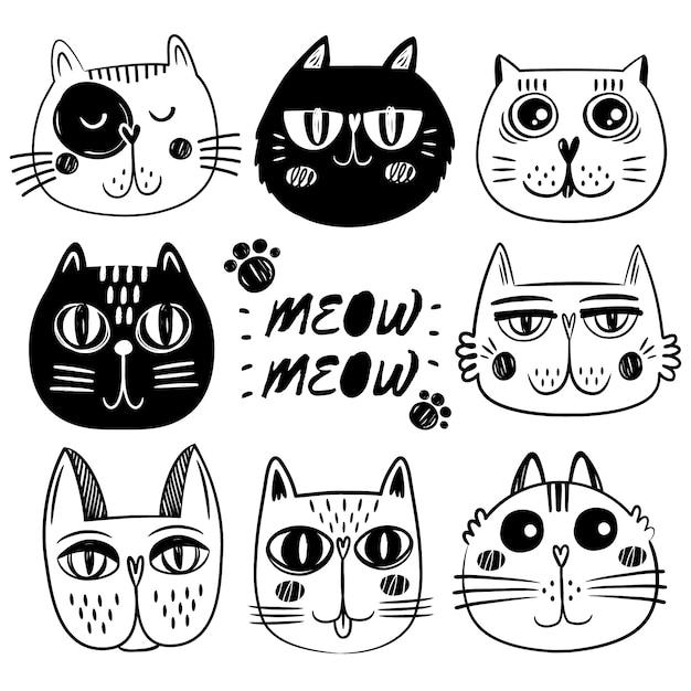 Coleção de caras de gato Vetor grátis