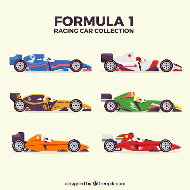 Coleção de carros de corrida de f1 Vetor grátis