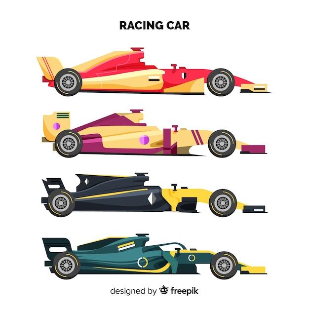 Coleção de carros de corrida moderna fórmula 1 Vetor grátis