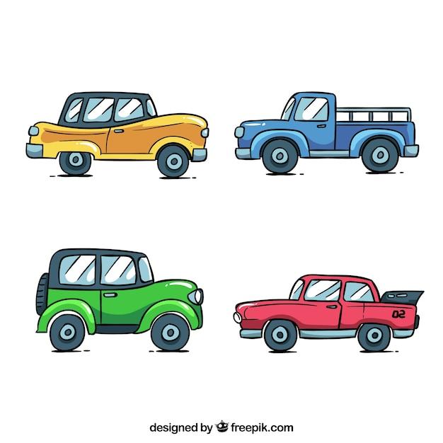 Colecao De Carros De Desenhos Animados Com Vista Lateral Vetor