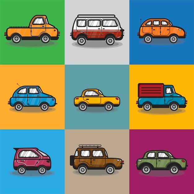 Coleção de carros e caminhões ilustração Vetor grátis
