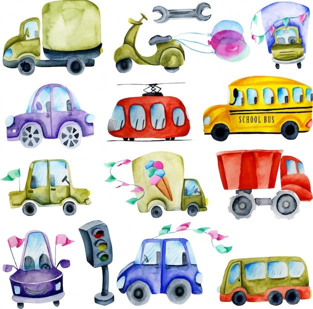Coleção de carros e elementos em aquarela Vetor Premium
