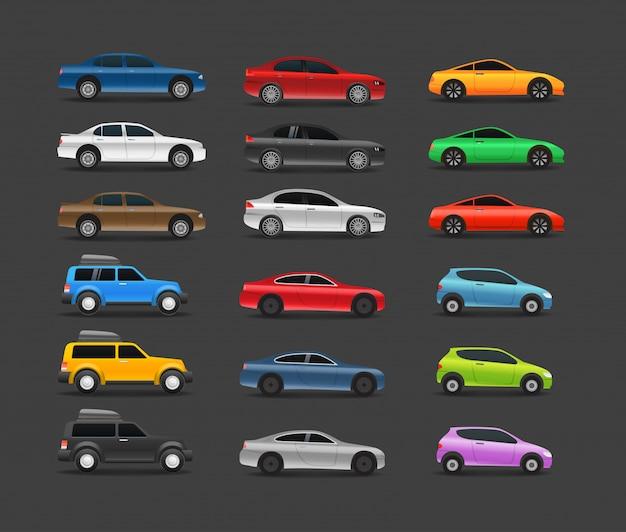 Coleção de carros modernos de cor Vetor Premium