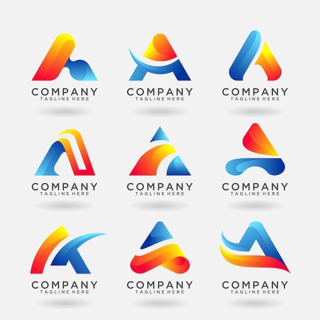 Coleção de carta um design de modelo de logotipo moderno Vetor Premium