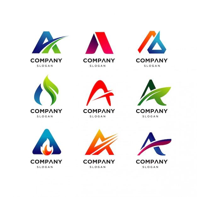 Coleção de carta um modelo de design de logotipo Vetor Premium