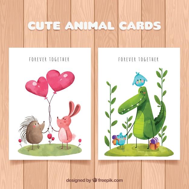 Coleção de cartão de animais encantadora Vetor grátis