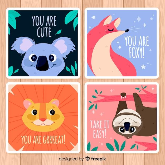 Coleção de cartão de animais selvagens. você é bonito Vetor grátis