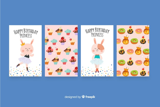 Coleção de cartão de aniversário design plano Vetor grátis