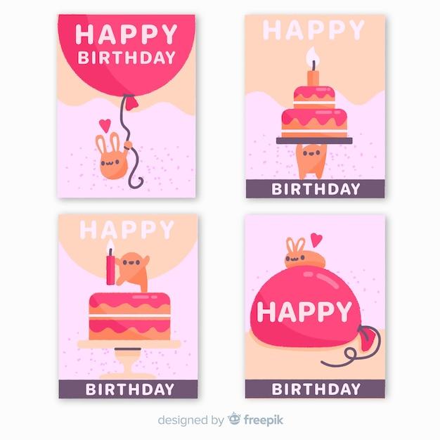 Coleção de cartão de aniversário na mão desenhada estilo Vetor grátis