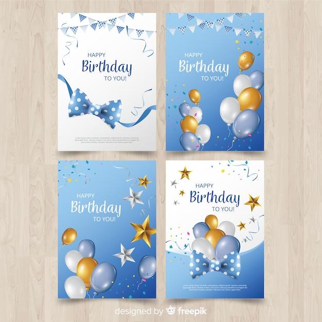 Coleção de cartão de aniversário plana Vetor grátis