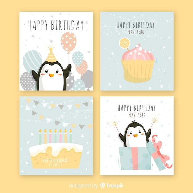 Coleção de cartão de aniversário Vetor grátis