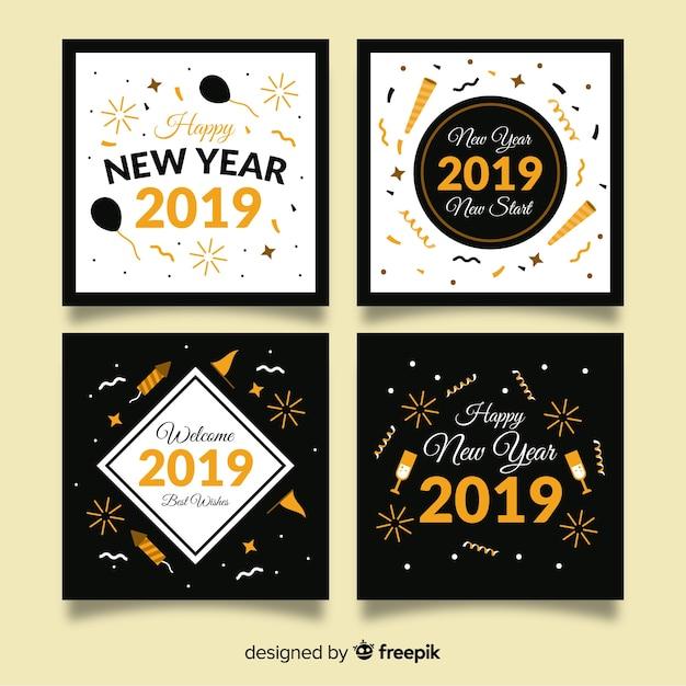 Coleção de cartão de ano novo com estilo dourado Vetor grátis