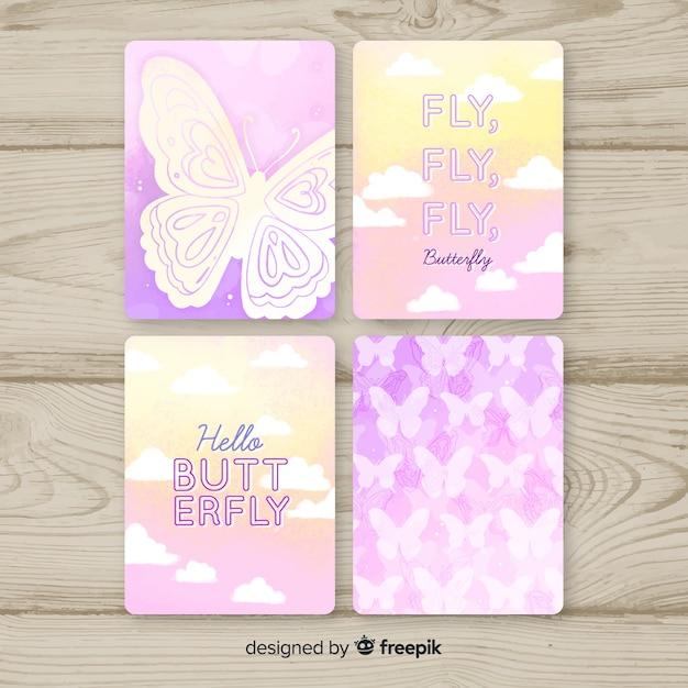 Coleção de cartão de borboleta em aquarela Vetor grátis