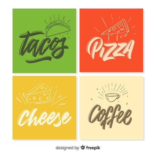 Coleção de cartão de comida letras Vetor grátis