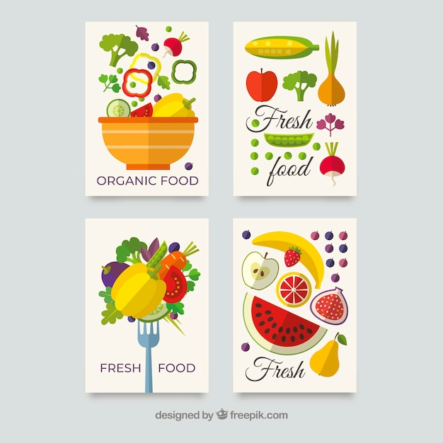 Coleção de cartão de comida saudável com design plano Vetor grátis