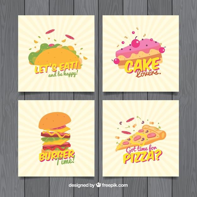 Coleção de cartão de comida Vetor grátis