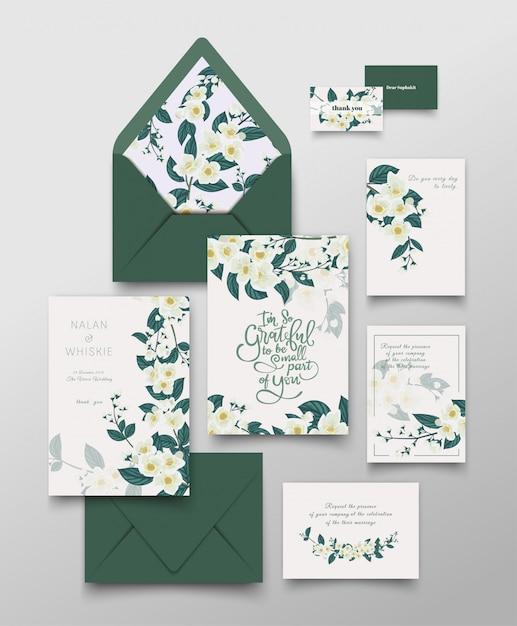 Coleção de cartão de convite de jasmim. Vetor Premium