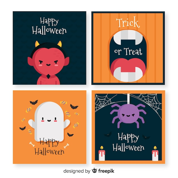 Coleção de cartão de dia das bruxas Vetor grátis