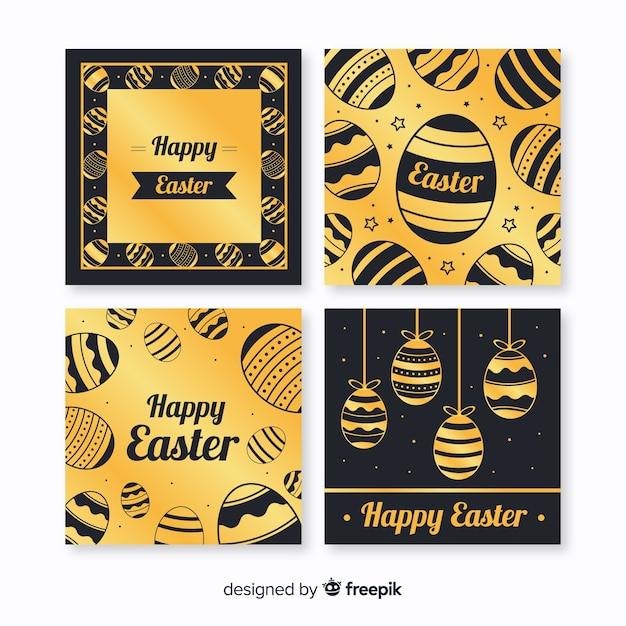 Coleção de cartão de dia de páscoa preto e dourado Vetor grátis