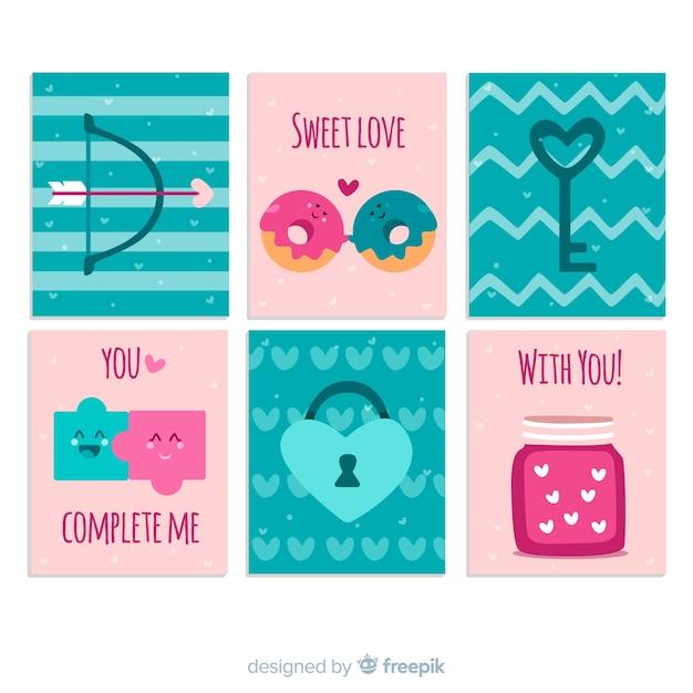 Coleção de cartão de dia dos namorados mão desenhada Vetor grátis