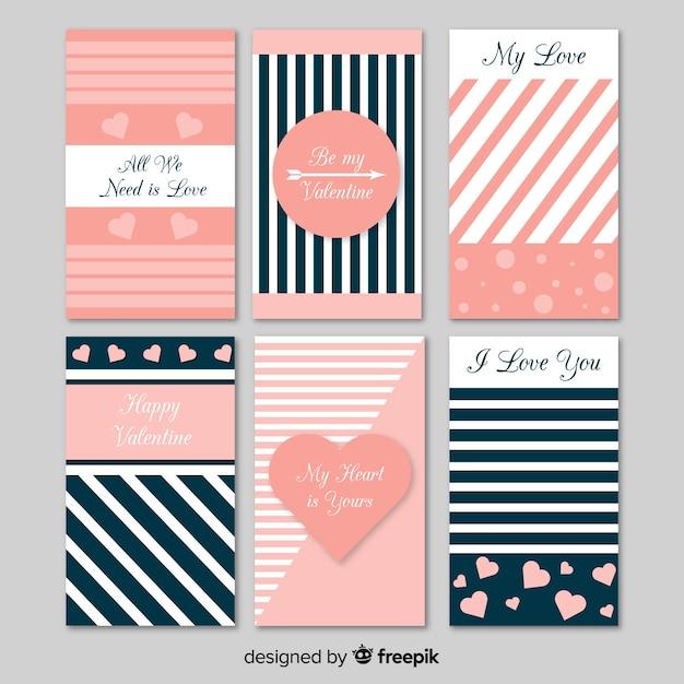 Coleção de cartão de dia dos namorados plana listrada Vetor grátis