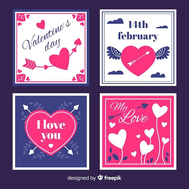 Coleção de cartão de dia dos namorados plana Vetor grátis
