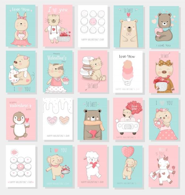 Coleção de cartão de dia dos namorados Vetor Premium