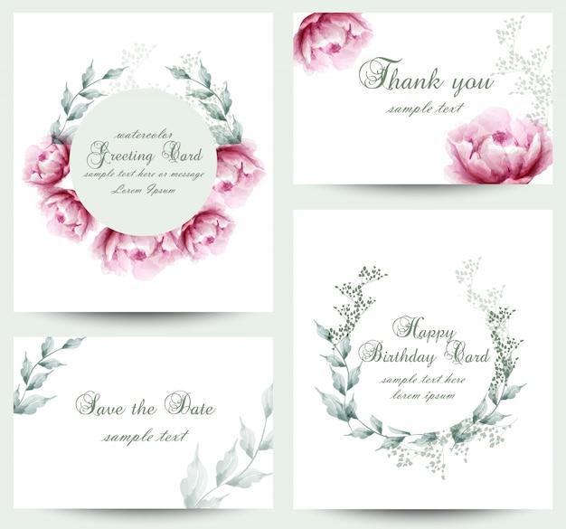 Coleção de cartão de flor de peônia aquarela flores Vetor Premium