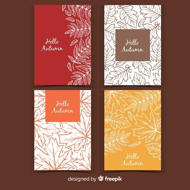 Coleção de cartão de outono mão desenhada Vetor Premium