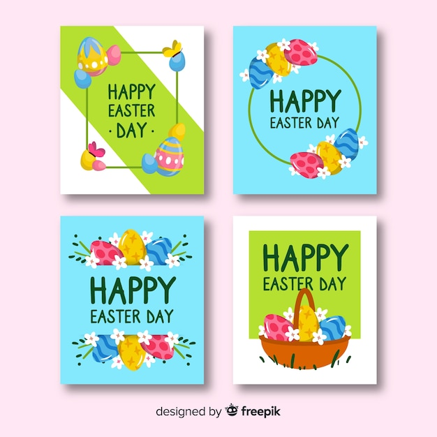 Coleção de cartão de páscoa colorida Vetor grátis