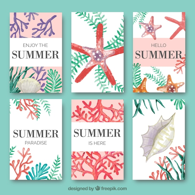 Coleção de cartão de verão com algas marinhas e aquarela elementos marinhos Vetor grátis
