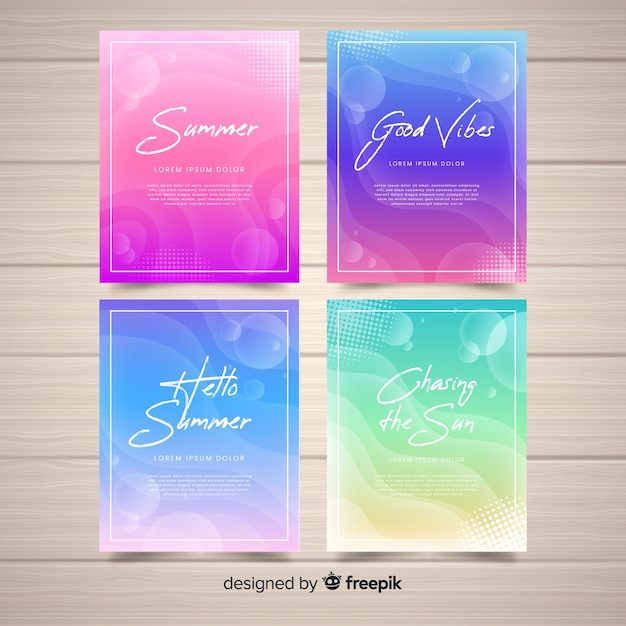 Coleção de cartão de verão líquido Vetor grátis