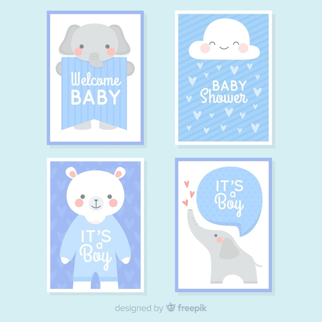 Coleção de cartão do chuveiro de bebê Vetor grátis