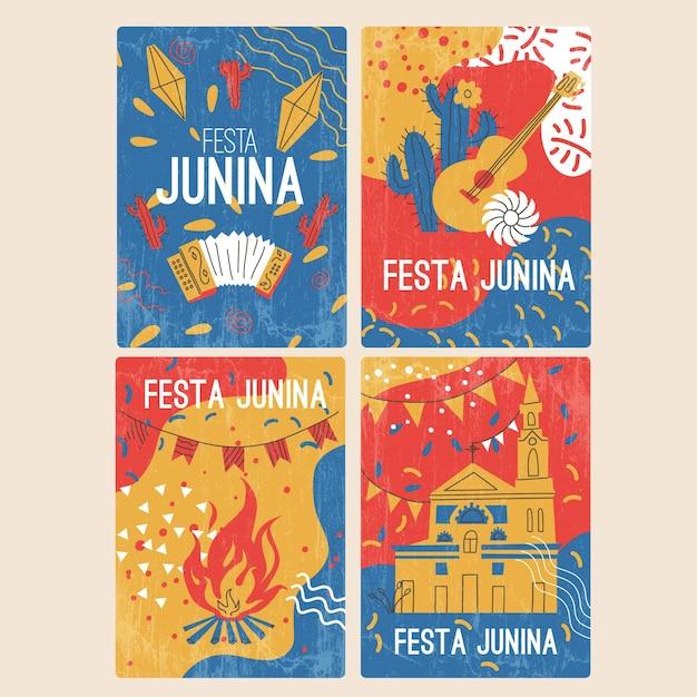 Coleção de cartão festa junina desenhada de mão Vetor Premium