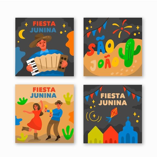 Coleção de cartão festa junina desenhada de mão Vetor grátis