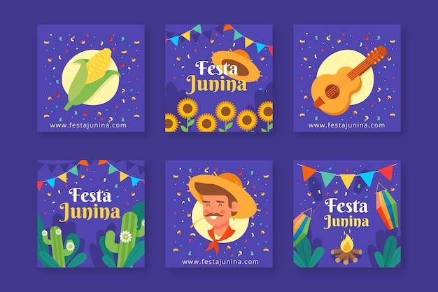 Coleção de cartão festa junina design plano Vetor grátis