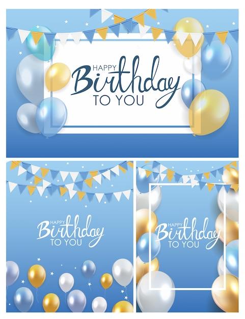 Coleção de cartaz de balões de feliz aniversário brilhante Vetor Premium