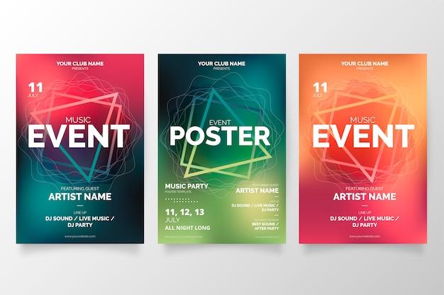 Coleção de cartaz de evento de música moderna Vetor grátis