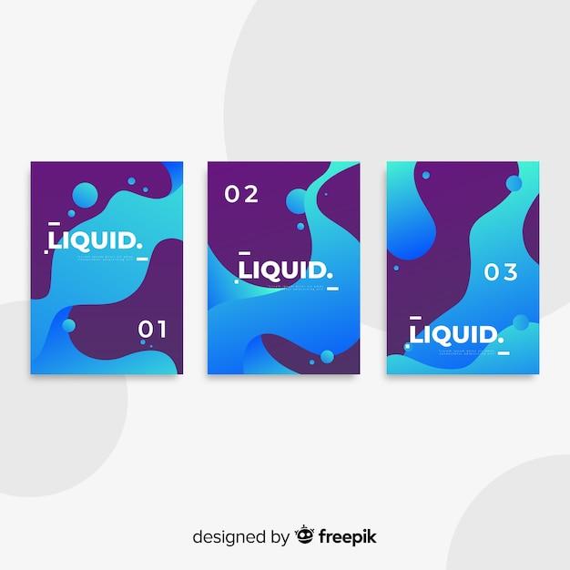 Coleção de cartaz de formas fluidas Vetor grátis